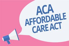 Word writing text Aca Affordable Care Act. Business concept for providing cheap treatment to patient several places Megaphone loud. Speaker speech bubble Stock Image