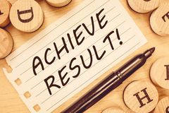 Word writing text Achieve Result. Business concept for Receive successful result from hard work make you happy.  stock photos