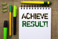Word writing text Achieve Result Motivational Call. Business concept for Obtain Success Reaching your goals written on Notebook Bo. Word writing text Achieve Royalty Free Stock Photo