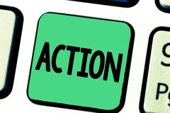 Word writing text Action. Business concept for fact or process doing something typically to achieve aim goal.  stock photo
