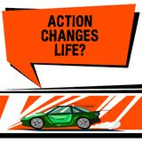 Word writing text Action Changes Things. Business concept for overcoming adversity by taking action on challenges Car. With Fast Movement icon and Exhaust Smoke royalty free illustration