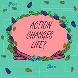 Word writing text Action Changes Things. Business concept for overcoming adversity by taking action on challenges Wreath. Made of Different Color Seeds Leaves royalty free illustration
