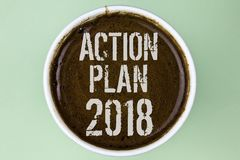 Word writing text Action Plan 2018. Business concept for Plans targets activities life goals improvement development written on Co. Word writing text Action Plan Stock Image