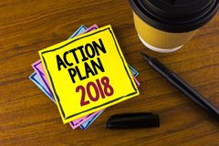 Word writing text Action Plan 2018. Business concept for Plans targets activities life goals improvement development written on St. Word writing text Action Plan Royalty Free Stock Photo
