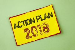 Word writing text Action Plan 2018. Business concept for Plans targets activities life goals improvement development written on Ye. Word writing text Action Plan Stock Photo