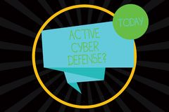 Word writing text Active Cyber Defensequestion. Business concept for acting in anticipation to oppose an attack Folded. 3D Ribbon Strip inside Circle Loop on stock illustration