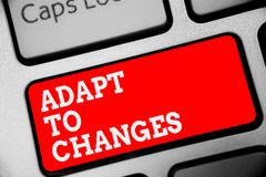 Word writing text Adapt To Changes. Business concept for Embrace new opportunities Growth Adaptation progress Keyboard red key Int. Ention create computer stock photos