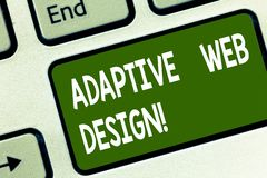 Word writing text Adaptive Web Design. Business concept for multiple versions of a webpage to fit the user s is device. Keyboard key Intention to create stock images