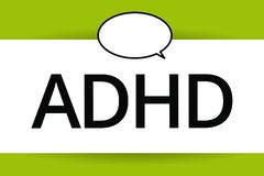 Word writing text Adhd. Business concept for Mental health disorder of children Hyperactive Trouble paying attention.  royalty free illustration