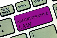 Word writing text Administrative Law. Business concept for Body of Rules regulations Orders created by a government royalty free stock photos