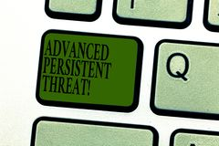 Word writing text Advanced Persistent Threat. Business concept for unauthorized user gains access to a system Keyboard. Key Intention to create computer message stock image