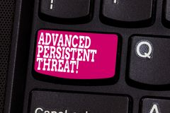 Word writing text Advanced Persistent Threat. Business concept for unauthorized user gains access to a system Keyboard. Key Intention to create computer message royalty free stock photography