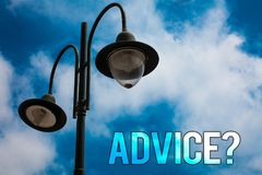 Word writing text Advice Question. Business concept for Counseling Encouragement Assist Recommend Support Steer Light post blue cl. Oudy clouds sky ideas message stock photos