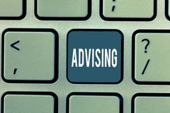 Word writing text Advising. Business concept for Give advice recommendation assistance professional support.  royalty free stock image