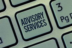 Word writing text Advisory Services. Business concept for Support actions and overcome weaknesses in specific areas.  stock photography