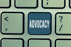 Word writing text Advocacy. Business concept for Profession of legal advocate Lawyer work Public recommendation.  royalty free stock image