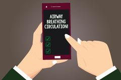 Word writing text Airway Breathing Circulation. Business concept for Memory aid for rescuers performing CPR Hu analysis. Hands Holding Pointing Touching royalty free illustration