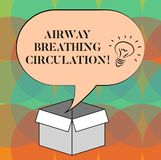 Word writing text Airway Breathing Circulation. Business concept for Memory aid for rescuers performing CPR Idea icon. Inside Blank Halftone Speech Bubble Over royalty free illustration