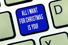 Word writing text All I Want For Christmas Is You. Business concept for Holiday celebrate in couple roanalysistic vector illustration