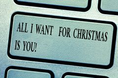 Word writing text All I Want For Christmas Is You. Business concept for Holiday celebrate in couple roanalysistic stock photos