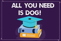 Word writing text All You Need Is Dog. Business concept for Get a puppy to be happier canine lovers cute animals Color. Graduation Hat with Tassel 3D Academic stock illustration