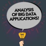 Word writing text Analysis Of Big Data Applications. Business concept for Information technologies modern apps Blank. Oval Color Speech Bubble Above a Broken vector illustration