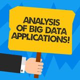 Word writing text Analysis Of Big Data Applications. Business concept for Information technologies modern apps Hu. Analysis Hand Holding Blank Colored Placard stock illustration