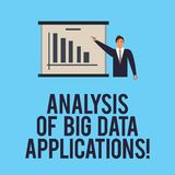 Word writing text Analysis Of Big Data Applications. Business concept for Information technologies modern apps Man in Business. Suit Standing Pointing a Board royalty free illustration