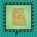 Word writing text Analyst Financial Forecast. Business concept for estimate future financial outcomes of a company Square Speech. Bubbles Inside Another with stock image