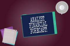 Word writing text Analyst Financial Forecast. Business concept for estimate future financial outcomes of a company Tablet Empty. Screen Cup Saucer and Filler royalty free stock image