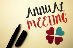 Word writing text Annual Meeting. Business concept for Yearly Company Assembly Business Conference Report Event written by Marker. The plain background Hearts stock photo