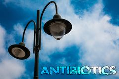 Word writing text Antibiotics. Business concept for Antibacterial Drug Disinfectant Aseptic Sterilizing Sanitary Light post blue c. Loudy clouds sky ideas royalty free stock photo