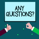 Word writing text Any Questions Question. Business concept for you say write order to ask demonstrating about something. Word writing text Any Questions Question royalty free illustration