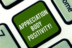 Word writing text Appreciation Body Positivity. Business concept for Acceptance and appreciation of body types Keyboard. Key Intention to create computer royalty free stock photos