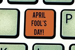 Word writing text April Fool S Is Day. Business concept for fixed date that has occasion for playing tricks Keyboard key stock photography