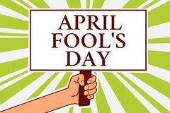 Word writing text April Fool s is Day. Business concept for Practical jokes humor pranks Celebration funny foolish. Notice board symbol scripted text indication stock illustration