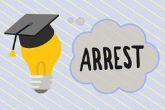 Word writing text Arrest. Business concept for seize someone by legal authority and take them into custody.  vector illustration