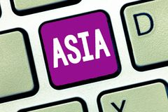 Word writing text Asia. Business concept for Largest and populous continent Eastern and northern hemisphere.  royalty free stock image