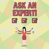 Word writing text Ask An Expert. Business concept for confirmation that have read understand and agree with guidelines. Word writing text Ask An Expert. Business royalty free illustration