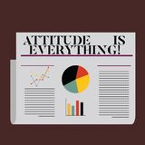 Word writing text Attitude Is Everything. Business concept for Motivation Inspiration Optimism important to succeed. Word writing text Attitude Is Everything royalty free illustration