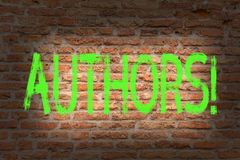 Word writing text Authors. Business concept for Writer Journalist Poet Biographer Playwright Composer Creator Brick Wall. Word writing text Authors. Business royalty free stock photography
