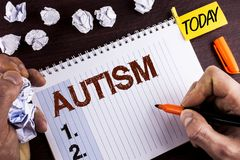Word writing text Autism. Business concept for Autism Awareness conducted by social committee around the globe written by Man on N. Word writing text Autism Stock Images