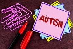 Word writing text Autism. Business concept for Autism Awareness conducted by social committee around the globe written on Pink Sti. Word writing text Autism Royalty Free Stock Photography
