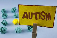 Word writing text Autism. Business concept for Autism Awareness conducted by social committee around the globe written on Yellow S. Word writing text Autism Royalty Free Stock Photos