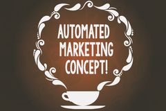 Word writing text Automated Marketing Concept. Business concept for automate repetitive tasks such as emails Cup and. Saucer with Paisley Design as Steam icon stock illustration