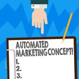 Word writing text Automated Marketing Concept. Business concept for automate repetitive tasks such as emails Hu analysis. Hand Pointing Down to Clipboard with vector illustration
