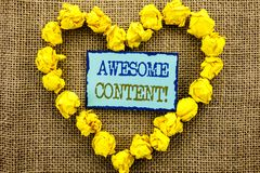 Word, writing, text  Awesome Content. Business concept for Creative Strategy Education Website Concept written on Sticky Note Pape. Word, writing, text  Awesome Stock Photo