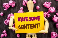 Word, writing, text  Awesome Content. Conceptual photo Creative Strategy Education Website Concept written on Sticky Note Holding. Word, writing, text  Awesome Royalty Free Stock Image