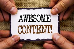 Word, writing, text  Awesome Content. Conceptual photo Creative Strategy Education Website Concept written on Sticky Note Paper Ho. Word, writing, text  Awesome Stock Photos