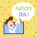 Word writing text Awesome Deal. Business concept for A large but indefinite quantity as like as a good deal of money Man. Word writing text Awesome Deal royalty free illustration